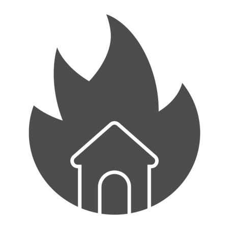 Symbol of fire and home solid icon. House in fire glyph style pictogram on white background. Property burning tragedy with frame for mobile concept and web design. Vector graphics.