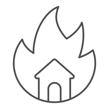Symbol of fire and home thin line icon. House in fire outline style pictogram on white background. Property burning tragedy with frame for mobile concept and web design. Vector graphics.