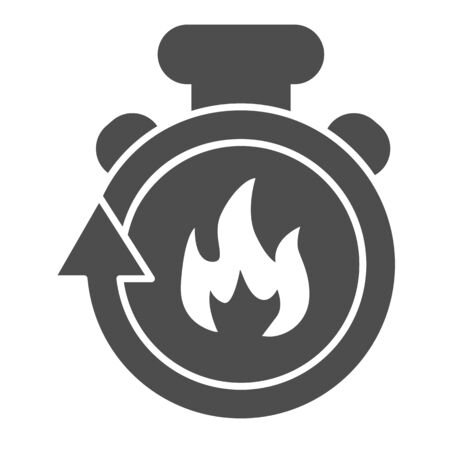 Stopwatch in fire solid icon. Firefighting time is running out glyph style pictogram on white background. Timer with flame save life deadline for mobile concept and web design. Vector graphics.