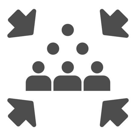 Icône solide de point de rassemblement d'urgence. Pictogramme de style glyphe de signe de rassemblement d'évacuation sur fond blanc. Groupe de personnes pour l'évacuation avec des flèches pour le concept mobile et la conception Web. Graphiques vectoriels.