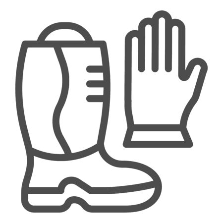 Fireman boots and gloves line icon. Fire protection equipment outline style pictogram on white background. Firefighting signs for mobile concept and web design. Vector graphics.