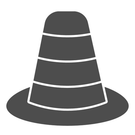 Cone divider on the road solid icon. Traffic cone glyph style pictogram on white background. Emergencies road symbol for mobile concept and web design. Vector graphics.