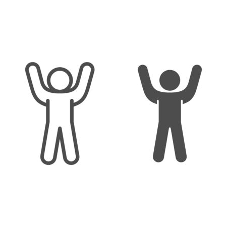 Stick figure cheering with his hand up line and solid icon. Man with arms up outline style pictogram on white background. Stickman raise hands for mobile concept and web design. Vector graphics.