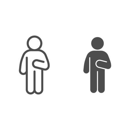 Guy Idler line and solid icon. Man in front pose with raised hand on the right outline style pictogram on white background. Relax man poses for mobile concept and web design. Vector graphics.