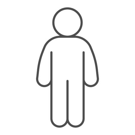 Man stand pose thin line icon. Man in front pose with arms down at the waist outline style pictogram on white background. Person standing silhouette for mobile concept and web design. Vector graphics