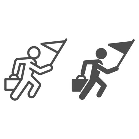 Career races line and solid icon. Running man with flag and briefcase outline style pictogram on white background. Business competition for mobile concept and web design. Vector graphics.