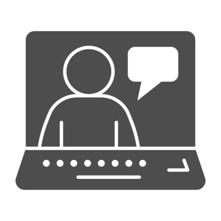 Online job interview solid icon. Video conference with candidate glyph style pictogram on white background. Person and dialogue on laptop for mobile concept and web design. Vector graphics.