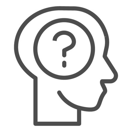Human face with question line icon. Man head silhouette and question inside outline style pictogram on white background. Thought in mind for mobile concept and web design. Vector graphics.