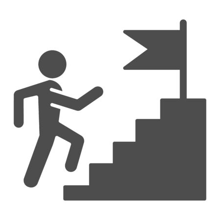 Career staircase solid icon. Climbing man to success on top of flag pedestal glyph style pictogram on white background. Job competition for mobile concept and web design. Vector graphics.