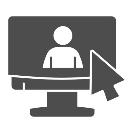 Online job interview solid icon. Monitor and silhouette of man with cursor glyph style pictogram on white background. Headhunting signs for mobile concept and web design. Vector graphics.