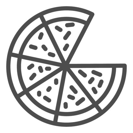 Pizza line icon. Cut Pizza without one slice illustration isolated on white.