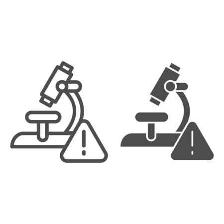 Microscope and alarm triangle line and solid icon. Alarming analysis results outline style pictogram on white background. Virus research microscope for mobile concept and web design. Vector graphics.