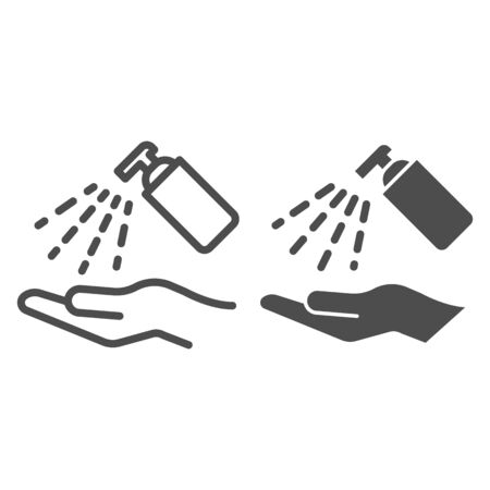Antiseptic alcohol spray line and solid icon. Clean hand with hygienic gel outline style pictogram on white background. Sanitize to prevent Covid-19 for mobile concept and web design. Vector graphics. Vettoriali