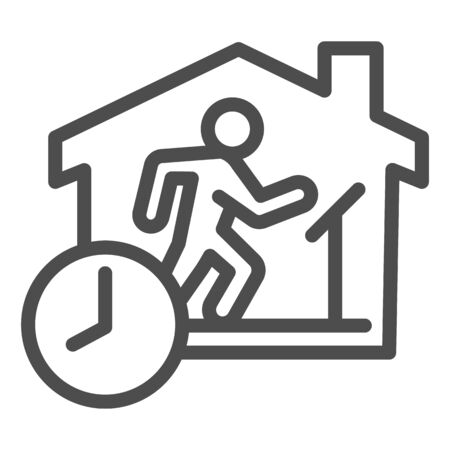 Quarantine sports at home line icon. Person jogging at treadmill with clock outline style pictogram on white background. Social isolation for mobile concept and web design. Vector graphics.