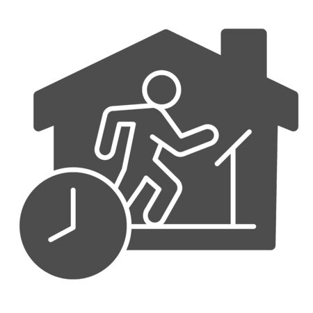 Quarantine sports at home solid icon. Person jogging at treadmill with clock glyph style pictogram on white background. Social isolation for mobile concept and web design. Vector graphics. Vettoriali