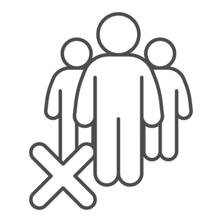 Gatherings ban thin line icon. Avoid Crowds outline style pictogram on white background. Social Distancing to avoid Covid-19 spread for mobile concept and web design. Vector graphics.
