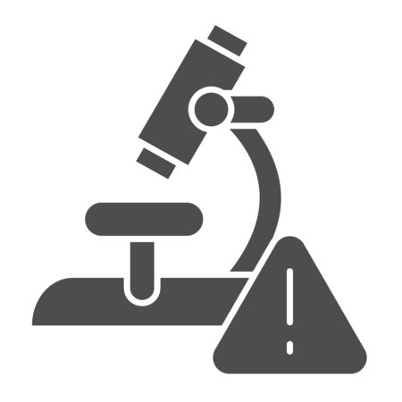 Microscope and alarm triangle solid icon. Alarming analysis results glyph style pictogram on white background. Virus research microscope for mobile concept and web design. Vector graphics