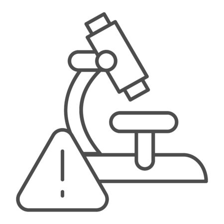 Microscope and alarm triangle thin line icon. Alarming analysis results outline style pictogram on white background. Virus research microscope for mobile concept and web design. Vector graphics