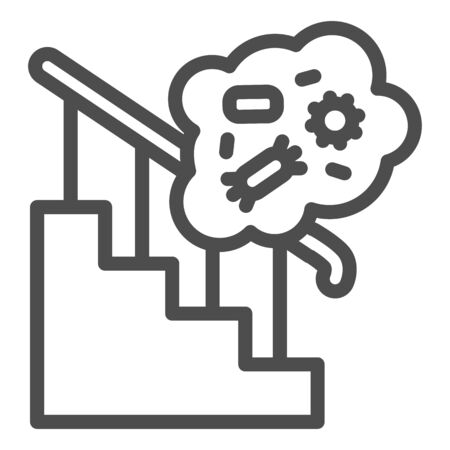 Home antihygienic conditions line icon. Stair railing and bacteria bubble outline style pictogram on white background. Coronavirus prevention for mobile concept and web design. Vector graphics