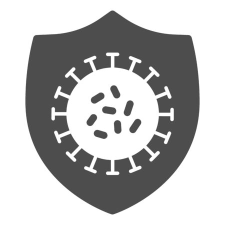 Coronavirus bacteria on shield solid icon. Immune from flu germ glyph style pictogram on white background. Coronavirus protection shield for mobile concept and web design. Vector graphics