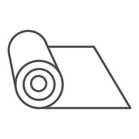 Matte dünne Linie Symbol. Gerolltes Schutzmaterial für die Fitnessillustration, isoliert auf weiss. Matte für Yoga-Outline-Design, entworfen für Web und App.