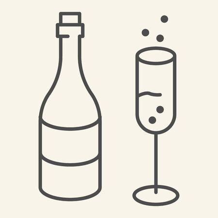 Champagne and glass thin line icon. New Year celebration outline style pictogram on white background. Sparkling wine and glass with bubbles for mobile concept and web design. Vector graphics.  イラスト・ベクター素材