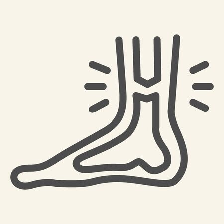 Leg ankle pain line icon. Foot joint bones injury outline style pictogram on white background. Injury leg for mobile concept and web design. Vector graphics. Vecteurs