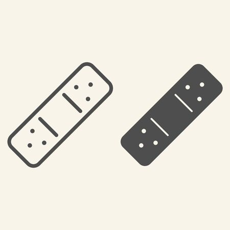 Adhesive Bandage line and solid icon. Plaster outline style pictogram on white background. Treatment aids medical plaster for mobile concept and web design. Vector graphics.