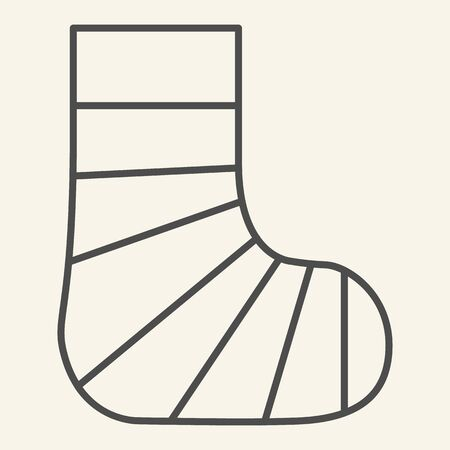 Gypsum foot thin line icon. Human plaster leg outline style pictogram on white background. Broken foot for mobile concept and web design. Vector graphics. Illustration
