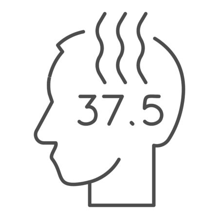 Human head with high temperature thin line icon. Person with fever and flu outline style pictogram on white background. Covid19 or influenza signs for mobile concept and web design. Vector graphics