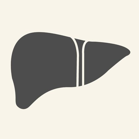 Liver organ solid icon. Human liver glyph style pictogram on white background. Medical health signs for mobile concept and web design. Vector graphics. Stock Illustratie