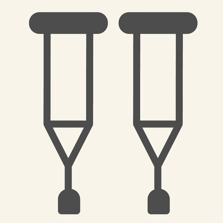 Crutches solid icon. Stick with a crosspiece for lame person glyph style pictogram on white background. Medical walking crutch pair for mobile concept and web design. Vector graphics.