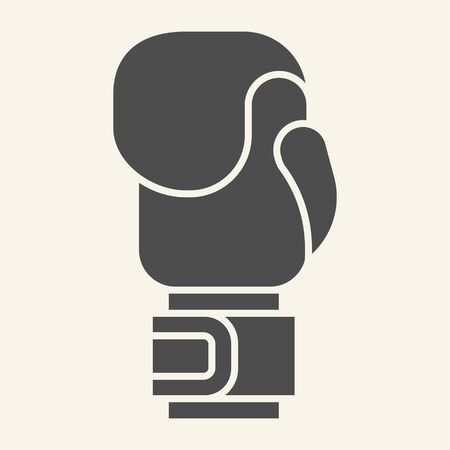 Boxing glove solid icon. Sport equipment glyph style pictogram on beige background. Boxing gloves symbol for mobile concept and web design. Vector graphics.