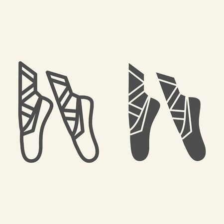 Ballet line and solid icon. Ballet pointes outline style pictogram on beige background. Dance studio symbol for mobile concept and web design. Vector graphics.