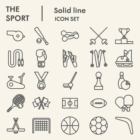 Sport line icon set. Fitness symbols collection or sketches. Health care signs for web and mobile concept, linear style pictogram style package isolated on beige background. Vector graphics.
