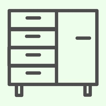 Bedside table line icon. Company achieve cabinets for documents and files outline style pictogram on white background. Business office furniture for mobile concept and web design. Vector graphics Stock Illustratie