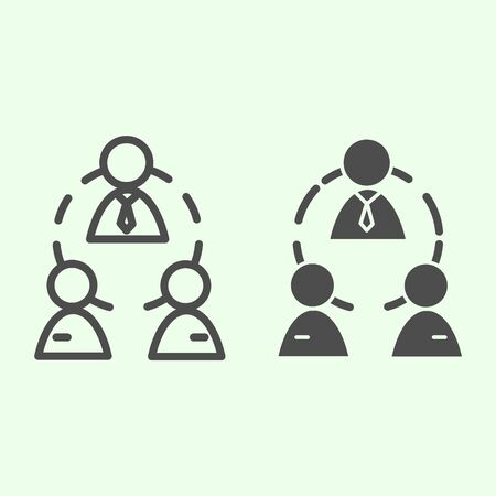 Business team line and solid icon. Office workgroup with employees and boss connections outline style pictogram on white background. Human resources for mobile concept and web design. Vector graphics.