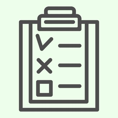 Check list line icon. Office clipboard with marked and canceled items outline style pictogram on white background. Business checkmark for mobile concept and web design. Vector graphics.