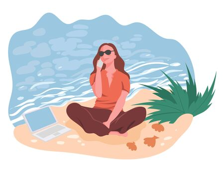 Girl sitting with smartphone in hand and laptop on beach near sea, vector illustration. Work remotely concept. Distant work by seaside. Young girl freelancer remotely working on beach. Vettoriali
