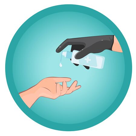 Use alcohol antiseptic gel to clean hands and prevent virus. Person hand in protective glove applying antibacterial spray disinfection. Stop covid-19. Use sanitizers disinfectant. Vector illustration.
