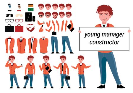 Constructor manager character for your scenes in vector. Constructor character set with various views, emotions, poses, Accessories and gestures. Parts of body template for animation and design.