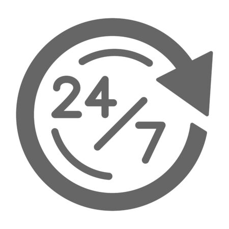 We work on delivery 24 on 7 hour solid icon, logistics symbol, customer delivery call-center vector sign on white background, opening hours icon in glyph style. Vector graphics Stockfoto