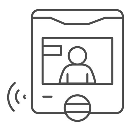 Intercom with guest on screen thin line icon, smart home symbol, person recognition video vector sign on white background, security webcam display with man icon outline style. Vector graphics.