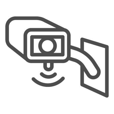 Video surveillance camera line icon, smart home symbol, Outdoor security camera vector sign on white background, safety protection cam cctv icon in outline style for mobile. Vector graphics.