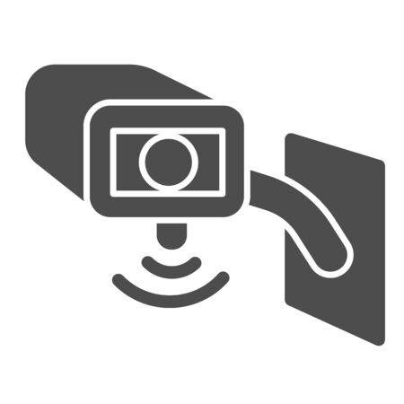 Video surveillance camera solid icon, smart home symbol, Outdoor security camera vector sign on white background, safety protection cam cctv icon in glyph style for mobile. Vector graphics.