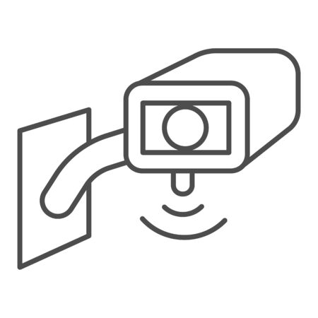 Video surveillance camera thin line icon, smart home symbol, Outdoor security camera vector sign on white background, safety protection cam cctv icon in outline style for mobile. Vector graphics. Illustration