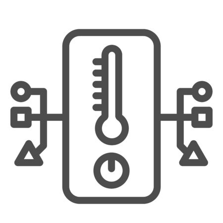 Electronic thermometer and network line icon, smart home symbol, remote house heating technology vector sign on white background, temperature measuring device with connections icon. Vector.