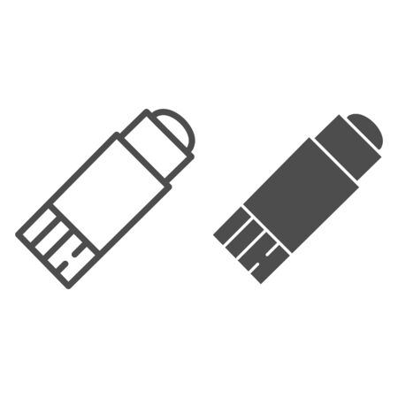 Glue stick line and solid icon, stationery concept, glue super adhesive and moment paste sign on white background, glue-stick symbol in outline style mobile concept and web design. Vector graphics.