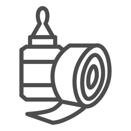 Sticky tape and glue bottle line icon, stationery concept, gluing tools sign on white background, tape and glue symbol in outline style for mobile and web. Vector graphics.