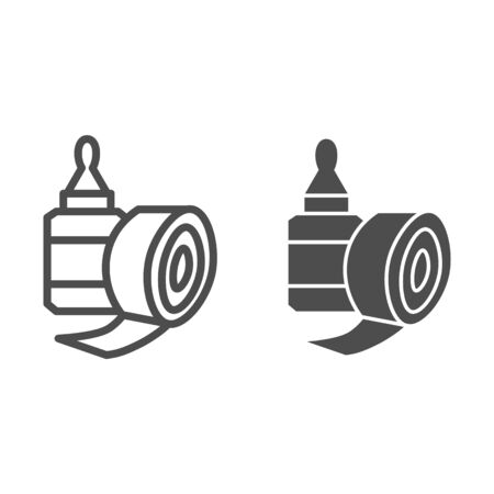 Sticky tape and glue bottle line and solid icon, stationery concept, gluing tools sign on white background, tape and glue symbol in outline style for mobile and web. Vector graphics. Иллюстрация